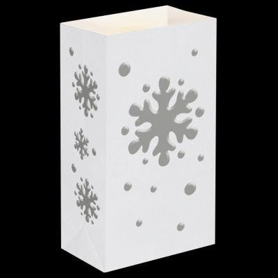 11 in. Snowflake Flame Resistant Luminaria Bags (Set of 12)