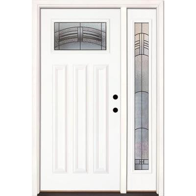 50.5 in. x 81.625 in. Rochester Patina Craftsman Lite Unfinished Smooth Fiberglass Prehung Front Door with Sidelite