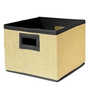 13 in. x 8 in. Wood Fiber Cream and Black Storage Baskets (Set of 3)