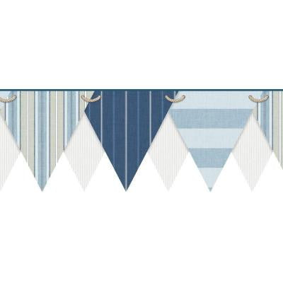 8.5 in. Nautical Living Striped Pennant Border