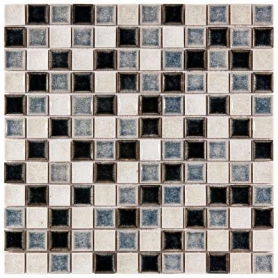 Crackle Square Azure Mix 11-5/8 in. x 11-5/8 in. x 8 mm Ceramic and Glass Wall Tile