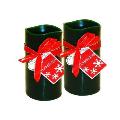 3 in. x 6 in. Wax LED Bisque Rechargeable Candle (2-Set)