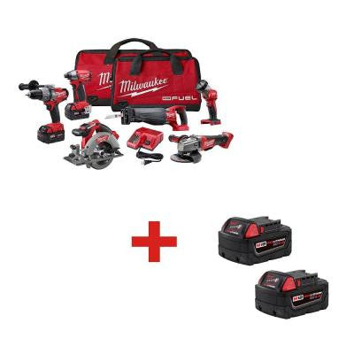 M18 FUEL 18-Volt Lithium-Ion Brushless Cordless Combo Kit (6-Tool)  with M18 XC5.0Ah Extended Capacity Battery (2-Pack)
