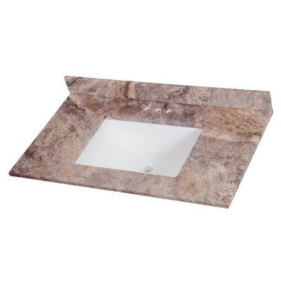 37 in. Stone Effects Vanity Top in Cold Fusion with White Basin