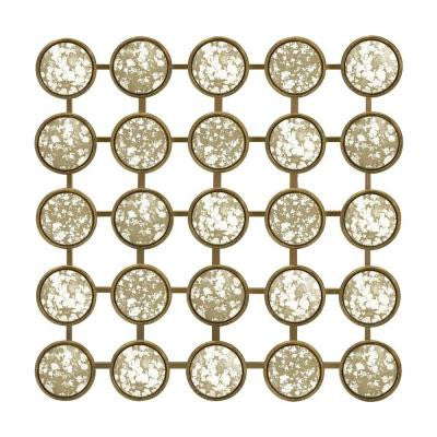 20.75 in. Square Iron/Glass Mystic Gold Wall Sculpture