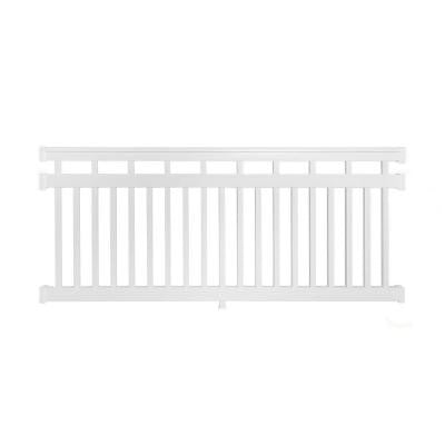 Hallandale 42 in. x 72 in. Vinyl White Straight Rail Kit