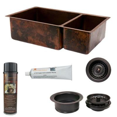 Undermount Hammered Copper 33 in. 0-Hole 75/25 Double Bowl Kitchen Sink and Drain in Oil Rubbed Bronze