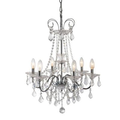 6-Light Chrome Chandelier