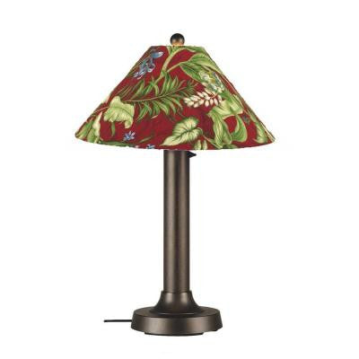 Catalina 34 in. Outdoor Bronze Table Lamp with Lacquer Shade