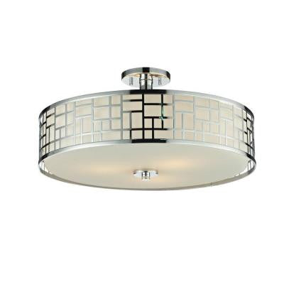 Velia 3-Light Chrome Semi Flush Mount