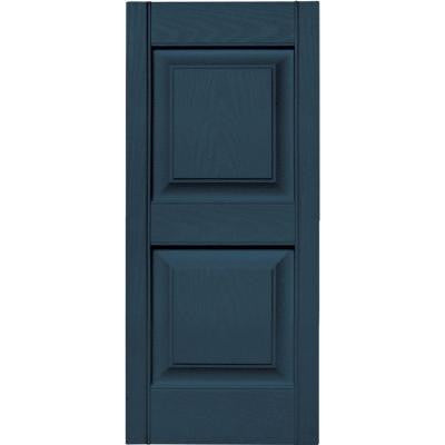 15 in. x 35 in. Raised Panel Vinyl Exterior Shutters Pair in #036 Classic Blue