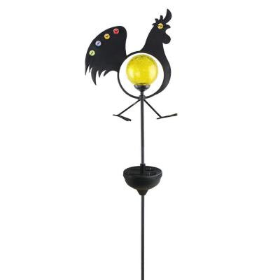 Solar Powered White LED Jeweled Rooster Stake Light