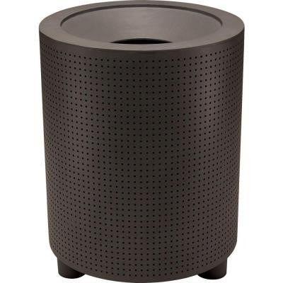 Grand Isle 32 Gal. Textured Bronze Perforated Contract Trash Can with Liner and Flat Top