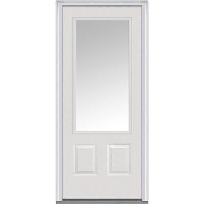36 in. x 80 in. Classic Clear Glass 3/4 Lite 2-Panel Primed White Majestic Steel Prehung Front Door