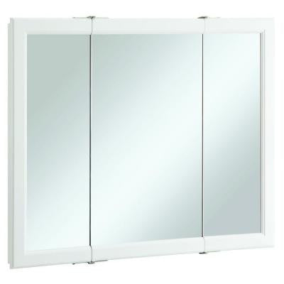 Wyndham 36 in. x 30 in. Tri-View Surface-Mount Mirrored Medicine Cabinet in White Semi-Gloss