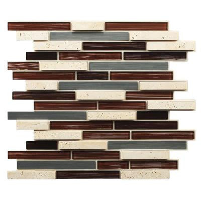 12 in. x 13 in. x 7 mm Peel and Stick Glass/Stone/Metal Mosaic Wall Tile
