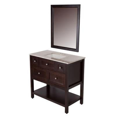 Ashland 36.5 in. Vanity in Chocolate with Stone Effects Vanity Top in Baja Travertine and Wall Mirror