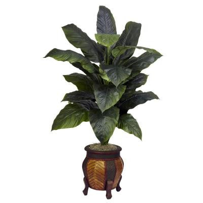 58 in. H Green Giant Spathyfillum with Decorative Vase Silk Plant