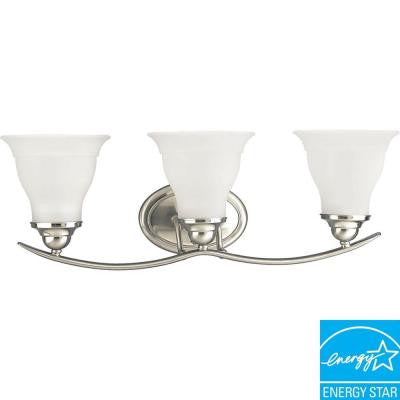 Trinity Collection 3-Light Brushed Nickel Fluorescent Vanity Fixture