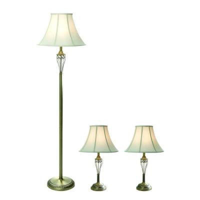 3-Piece Antique Brass Lamp Set