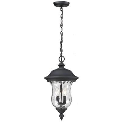 Lawrence 2-Light Outdoor Hanging Black Incandescent Pendant