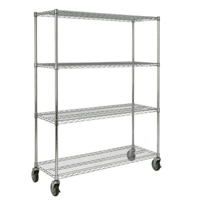 ProSave 67 1/5 in. H x 50 in. W x 18 in. D 4-Shelf Wheeled Mobile Rack for Shelf Ingredient Bins