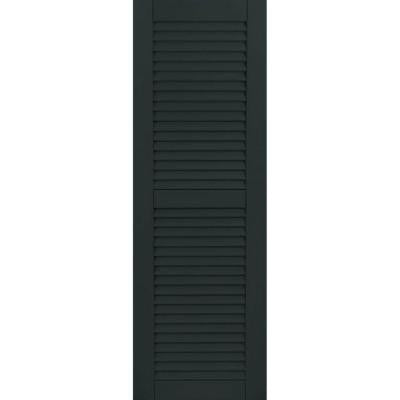 15 in. x 32 in. Exterior Composite Wood Louvered Shutters Pair Dark Green