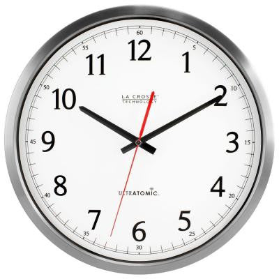 14 in. H Round Ultra-Atomic Analog Wall Clock in Silver