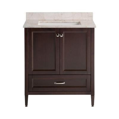 Claxby 31 in. W x 22 in. D x 38.3 in. H Vanity in Chocolate with Stone Effects Vanity Top in Dune with White Basin