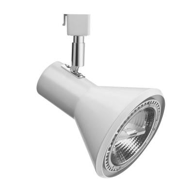 1-Light White Front Loading Shade Commercial Track Head