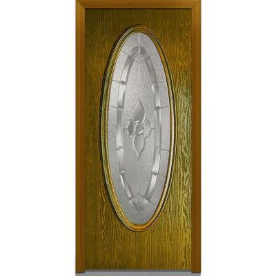 32 in. x 80 in. Master Nouveau Decorative Glass Oval Lite Finished Oak Fiberglass Prehung Front Door