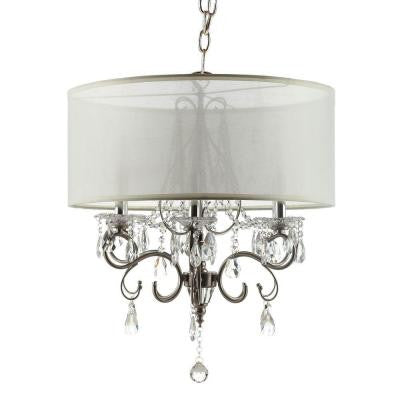 6-Light Chrome Crystal Large Chandelier