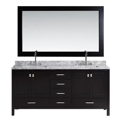 London 72 in. W x 22 in. D Double Vanity in Espresso with Marble Vanity Top and Mirror in Carrara White