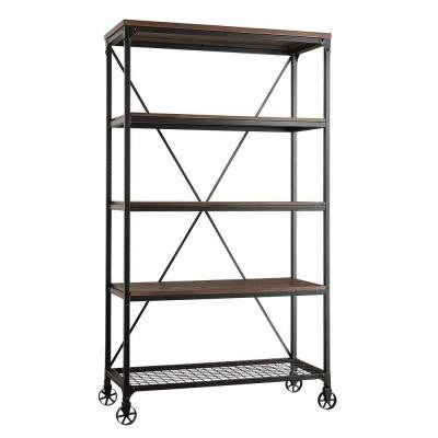 Cabella 4 Shelf Wide Bookcase with Metal Frame in Distressed Ash