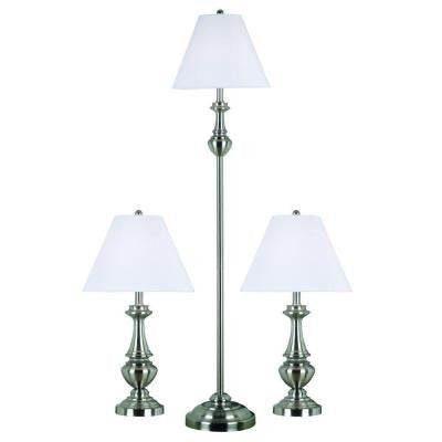 New Hope Brushed Steel 2 Table and 1 Floor Lamp Set