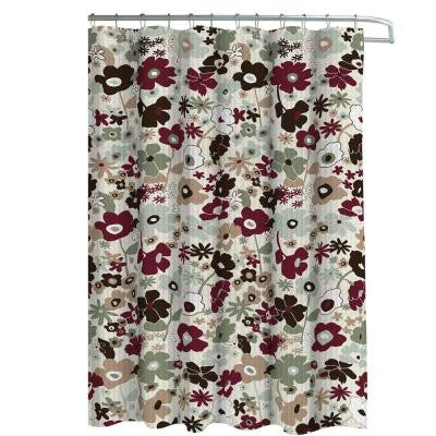 Oxford Weave Textured 70 in. W x 72 in. L Shower Curtain with Metal Roller Hooks in Stencil Floral Sage/Choc