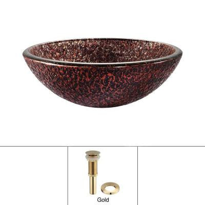 Glass Vessel Sink with Pop-Up Drain in Venus and Mounting Ring in Gold