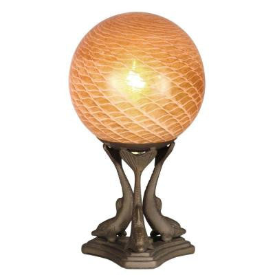 Art Glass Globe 11 in. Antique Brass Accent Lamp