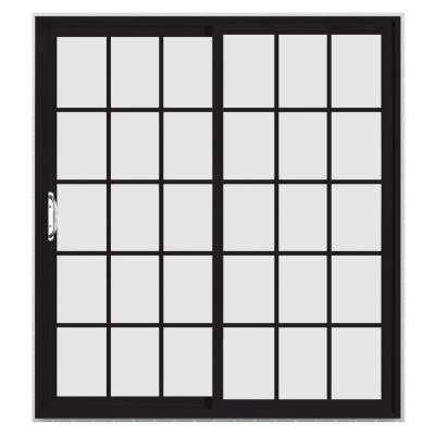 60 in. x 96 in. V-4500 Black Prehung Right-Hand Sliding 15 Lite Vinyl Patio Door with White Interior