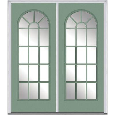 64 in. x 80 in. Classic Clear Glass Round Top Full Lite Painted Builder's Choice Steel Double Prehung Front Door