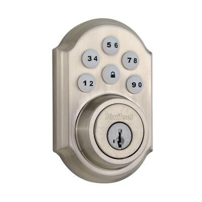 SmartCode Single Cylinder Satin Nickel Electronic Deadbolt for Wink HUB Featuring SmartKey