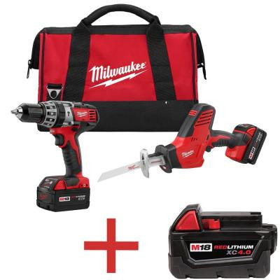 M18 18-Volt Lithium-Ion Cordless Hammer Drill/HACKZALL Combo Kit (2-Tool) with Free M18 4.0Ah Extended Capacity Battery