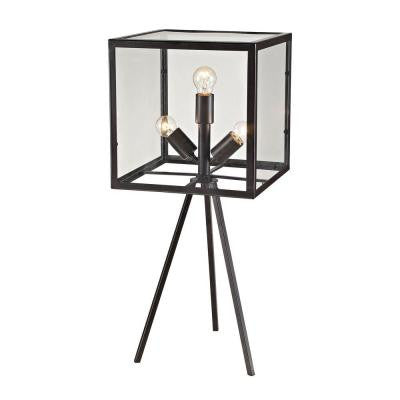 Workshop Glass Cube 28 in. Aged Bronze Table Lamp with Shade