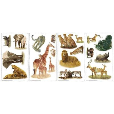 10 in. x 18 in. Safari Peel and Stick 19-Piece Peel and Stick Wall Decals
