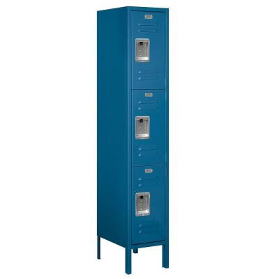 63000 Series 12 in. W x 66 in. H x 15 in. D - Triple Tier Metal Locker Unassembled in Blue