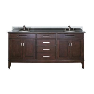 Madison 73 in. W x 22 in. D x 35 in. H Vanity in Light Espresso with Granite Vanity Top in Black with Basin
