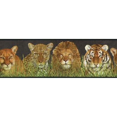 9 in. x 15 ft. Black and Green Wild Cats Border