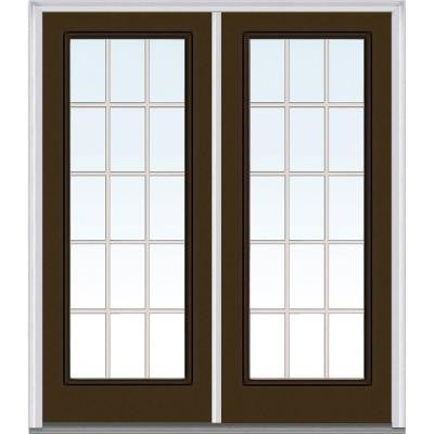 64 in. x 80 in. Classic Clear Glass GBG Full Lite Painted Fiberglass Smooth Double Prehung Front Door