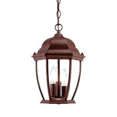 Wexford Collection Hanging Lantern 3-Light Outdoor Burled Walnut Light Fixture