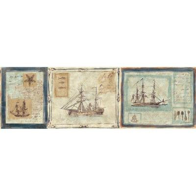 8.5 in. x 15 ft. Blue and Beige Nautical Ships Border